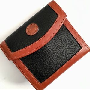 Dooney & Bourke Bags - Dooney & Bourke Black Brown Leather Trifold Wallet